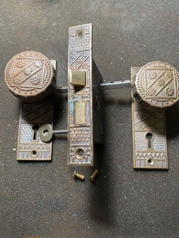 Antique FC Linde Solid Brass DoorKnobs &  Backplates, Mortise Lock