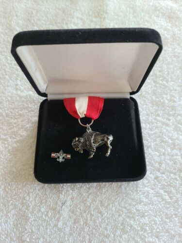 Boy Scouts of America Sterling Silver Buffalo Award Kit Red White Red Ribbon BSA