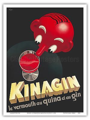 Kinagin Vermouth Gin French Liquor Vintage Advertising Art Poster (French Gin)
