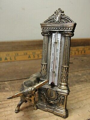 Vintage Cast Metal Desk Top Thermometer w/ Long Horn Steer White Mountains NH