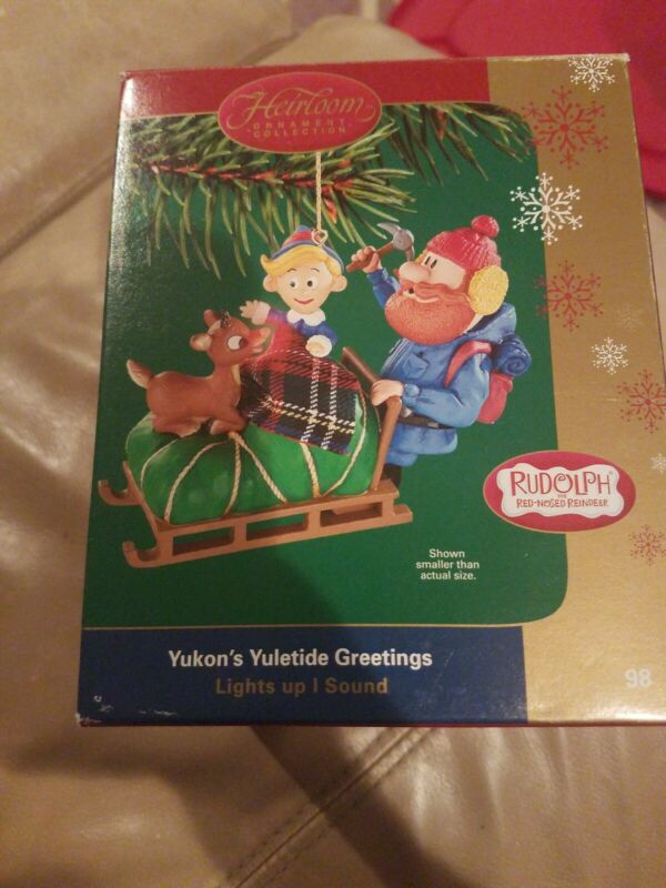 Carlton Heirloom Ornament Rudolph red nosed Reindeer Yukons Yuletide Greetings