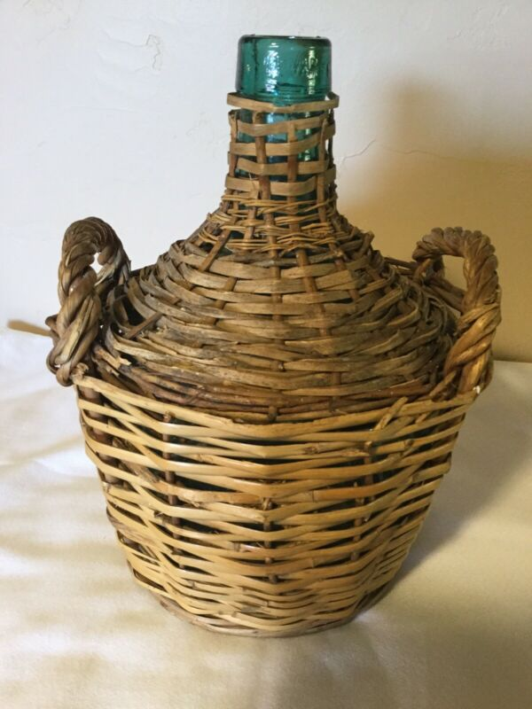 "12.5"" Vintage V LeVante Green Glass Jug Demijohn Bottle Wicker Rattan w/handles"