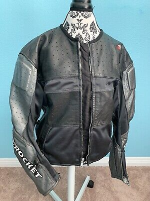 JOE ROCKET Men's Motorcycle Riding Racing Padded Lined Leather Jacket 46 Large Joe Rocket Racing Leathers