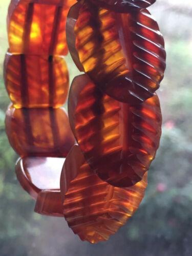 ART DECO VINTAGE BRACELET- HAND CARVED COGNAC AMBER BAKELITE LEAF PANELS -TESTED