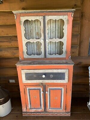 Antique Vintage Primitive Wood Hand Painted Cupboard Hutch, Kitchen Cabinet -