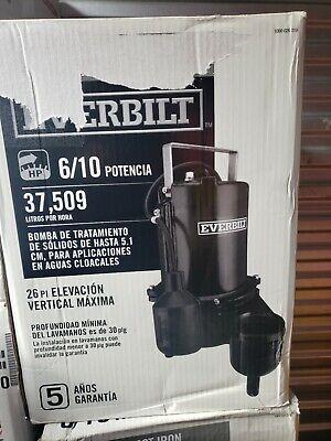 Everbilt Sewage Pump 610 Hp 9910 Gph Heavy Duty Ese60w-hd Free Shipping
