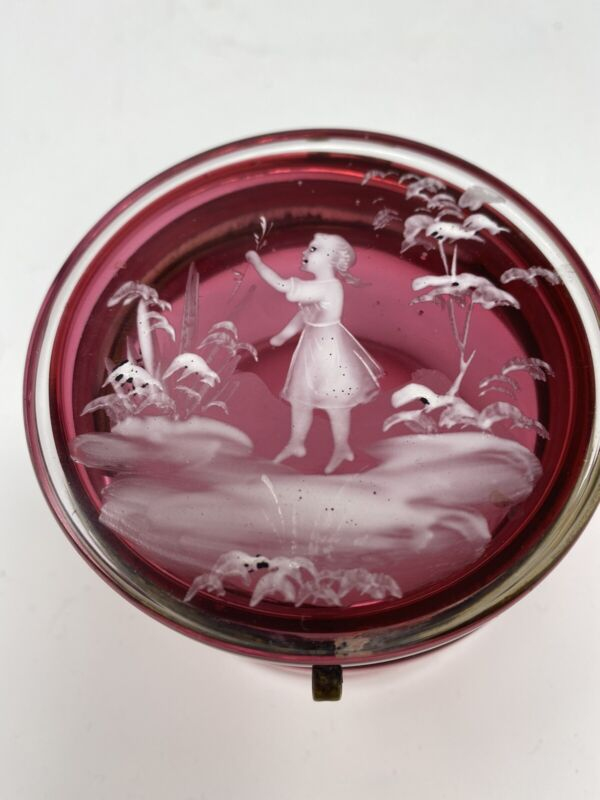 Antique Mary Gregory Painted Cranberry Glass Trinket or Pill Box Victoria Era