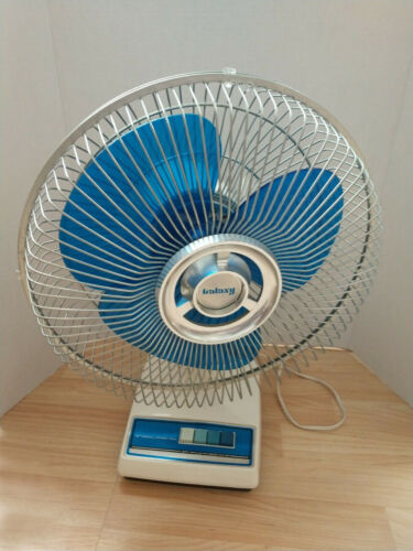"Vintage Galaxy Fan 12"" Translucent Aqua Blue Blades 3 Speed Oscillating Large"