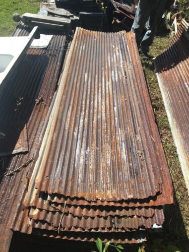 Vintage 8 ft Corrugated Roof Panel Tin Old Rusty Metal Restaurant Decor 105-18J
