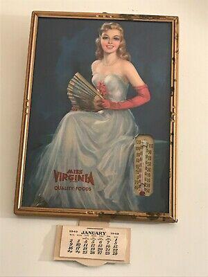 Vintage 1940's Pinup girl advertising Thermometer Calendar artist Jules Erbit