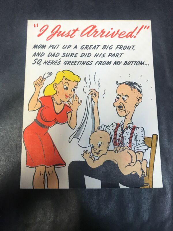 """Vintage Novo laughs NO.174 """"I Just Arrived"""" Baby Card"""