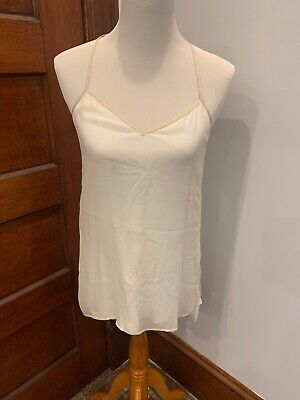 Ella Moss Size Small White Silk Tank With Metallic Trim Metallic Trim Tank