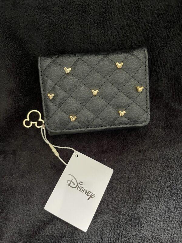 New Primark Disney Black and Gold Studded Wallet