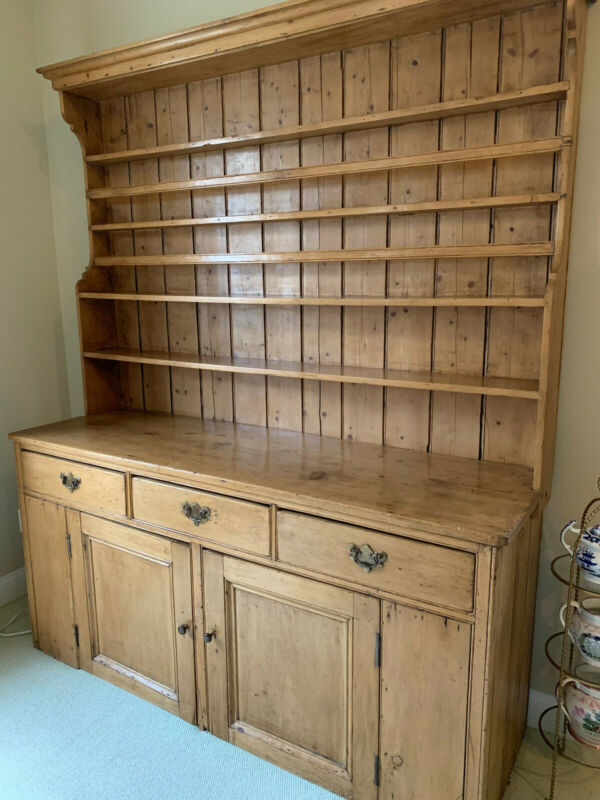 Large Antique Pine 2 Part Hutch / Dresser