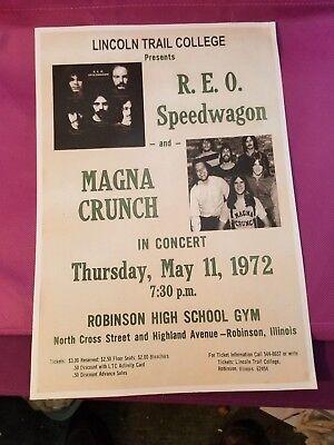 EARLY REO SPEEDWAGON & Magna Crunch CONCERT POSTER 1972 Robinson Illinois