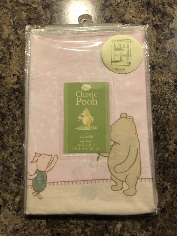 "Disney Classic Pooh ""Window Valance"" Winnie the Pooh Piglet Pink Baby Nursery"