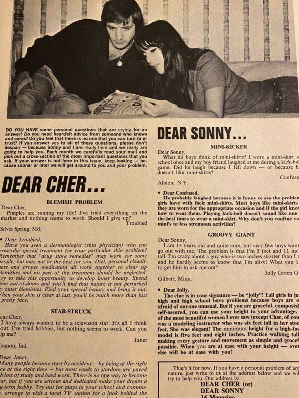 Cher, Sonny Bono, Full Page Vintage Clipping