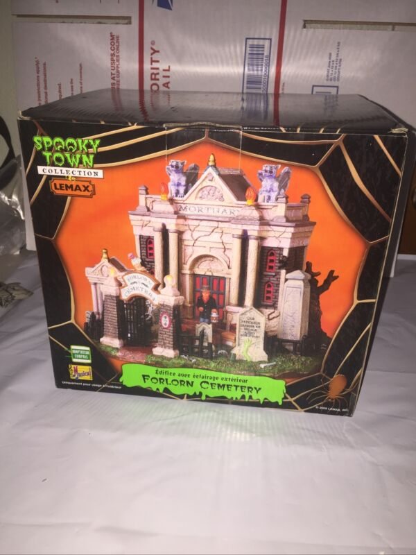 Forlorn Cemetery Lemax Spooky Town Retired Light Sound Halloween House