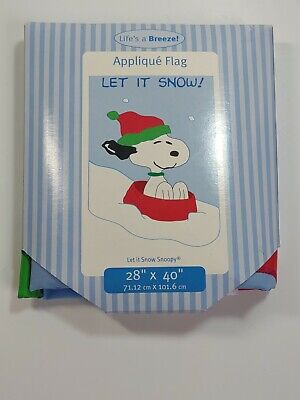 """NEW Snoopy Peanuts LET IT SNOW Applique House Flag 28"""" X 40"""" Winter"""
