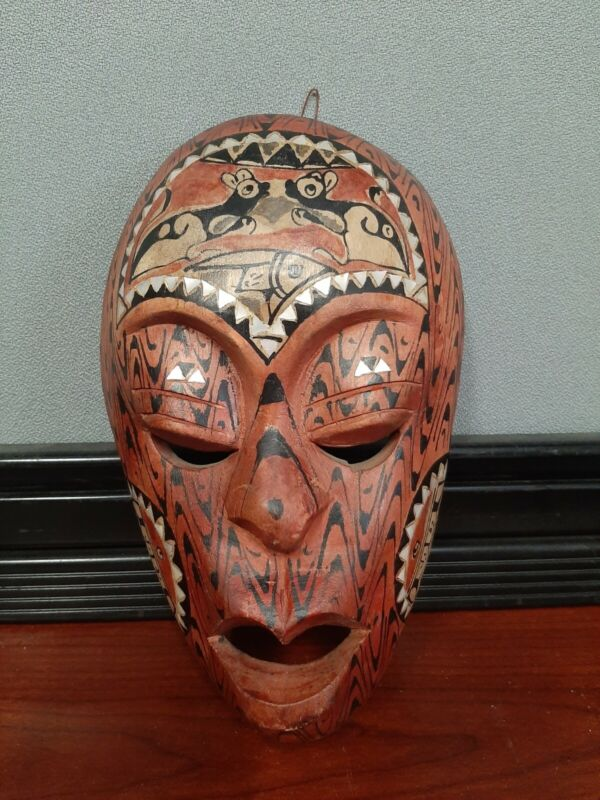 Vintage Asian Wood Carved Mask Wall Decor Inlaid And Hand Painted