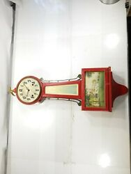 Antique New Haven Clock Co. Banjo Whitney 8-Day Red U.S.A w/ Eagle Finial #2