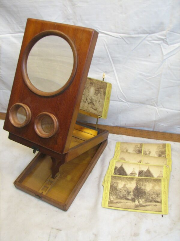 Antique Stereographoscope Stereocard Viewer Wood Burl Stereoview Card Magnifier