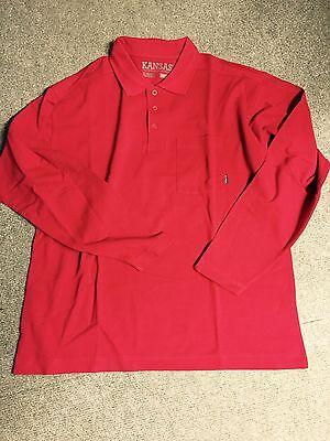 KANSAS Polo Shirt langarm rot Größe L