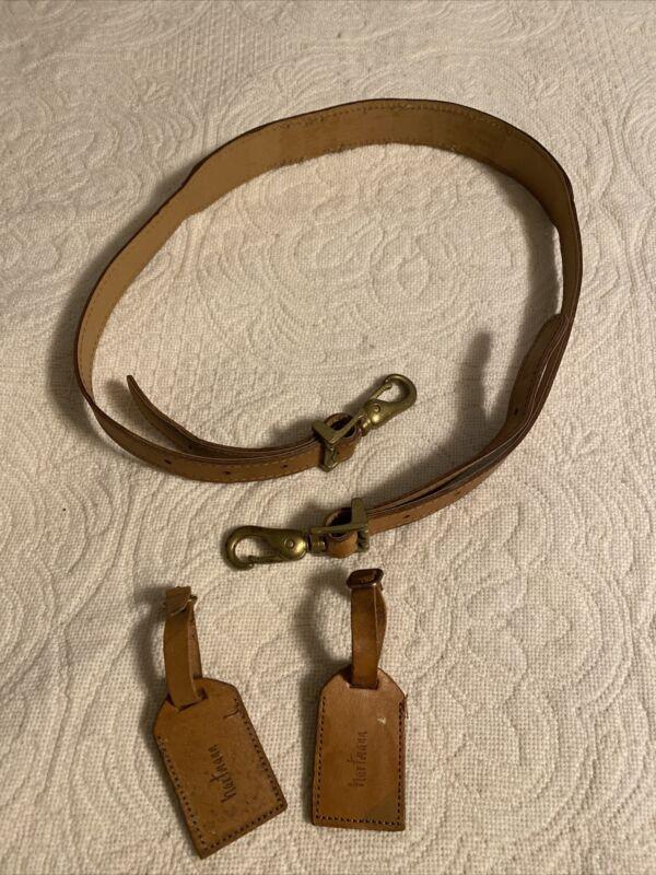 Vintage Hartmann Belting Tan Leather Luggage Strap *PLUS BONUS* two (2) tags!