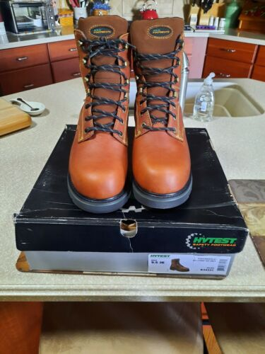 """Mens Hytest 8"""" Safety Footwear Leather Work Boots Brown Size"""