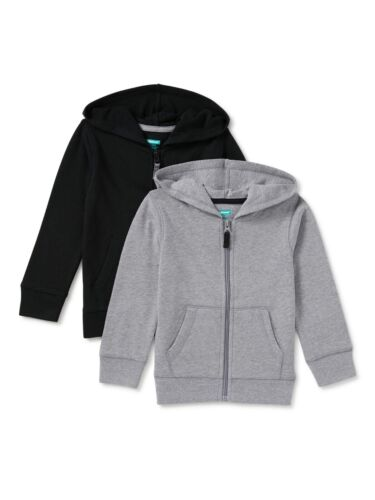 Garanimals Toddler Boy Zip-Up Hoodies, 2-Pack, Black/Grey, 4T