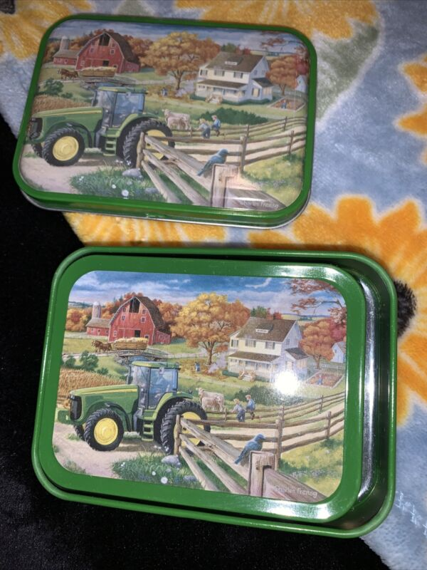 John Deere Silo 4 Coasters, With Tin Storage Authentic Licensed Product
