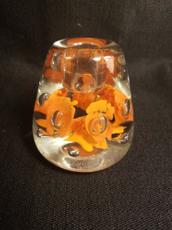 St. Clair Style Orange Floriform Candle Holder Controlled Bubbles Stunning
