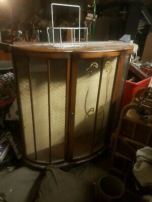 Antique display unit shelf missing would possibly convert to a bar etc