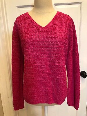 ANN TAYLOR ~ Women's Crocheted Sweater - Pink (Large) - NWT
