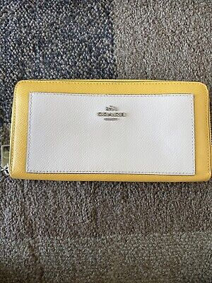 COACH Crossgrain Leather Accordion Zip Wallet Canary Yellow White Silver 53838