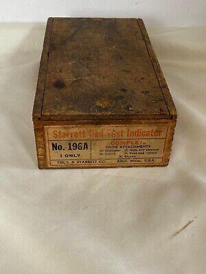 Vintage L.s.starrett No.196a Dial Test Indicator Set In Wooden Case