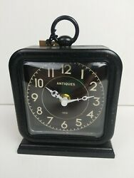 Creative Co-op Pewter Table Top Clock Black with Decorative Back Plate
