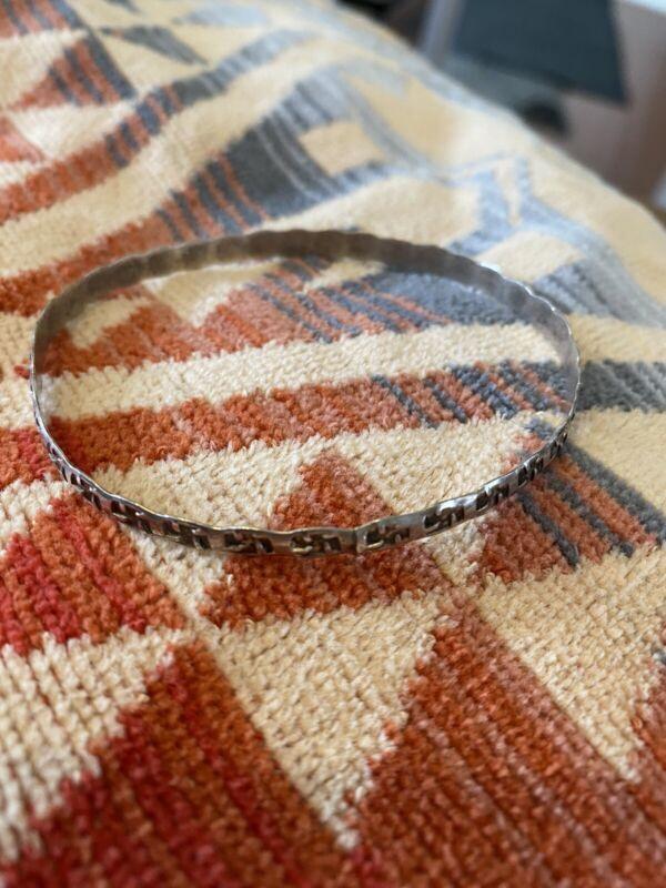 Fred Harvey Era Silver Bangle Bracelet Rolling logs of the Navajo type rare
