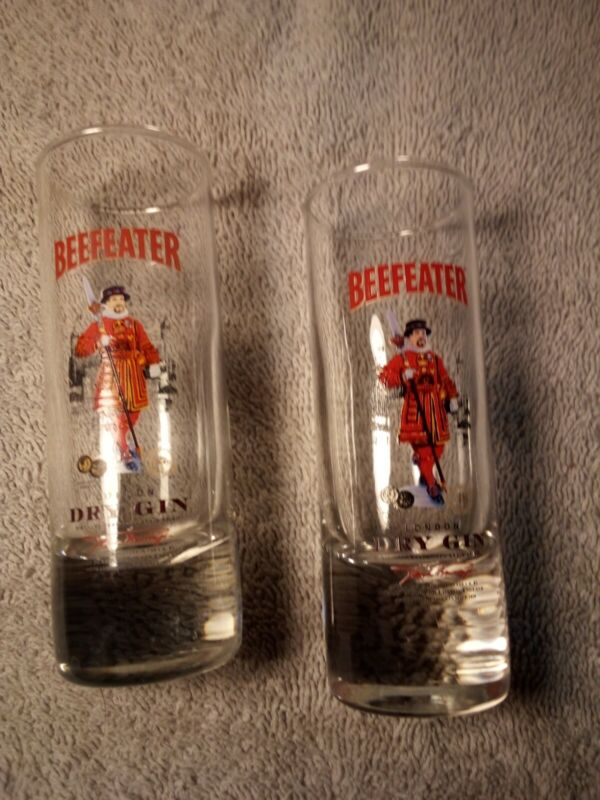 (2)  BEEFEATER  DRY GIN  SHOT GLASSES  TALL / SLENDER---FREE SHIP--VGC
