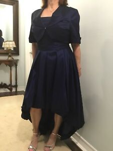 High low navy gown