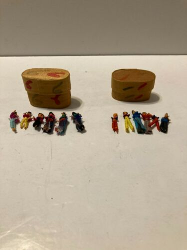Vintage Guatemalan Worry Dolls Lot of 12 and 2 Baskets Handmade in Guatemala