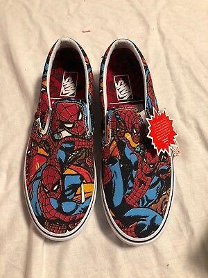 Vans Classic Slip On Marvel Spider Man Black MENS US 9.0 - Spiderman Vans