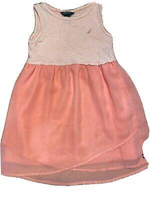 Nautica Girls Size 6 Light Orange Striped Sleeveless  Dress