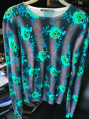 CHRISTOPHER KANE Women's Floral Silk Sweater Top Size S Small - Made in Italy!