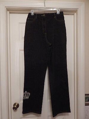 Quacker Factory Dark Gray Straight Leg 5 Pocket Jeans (M)