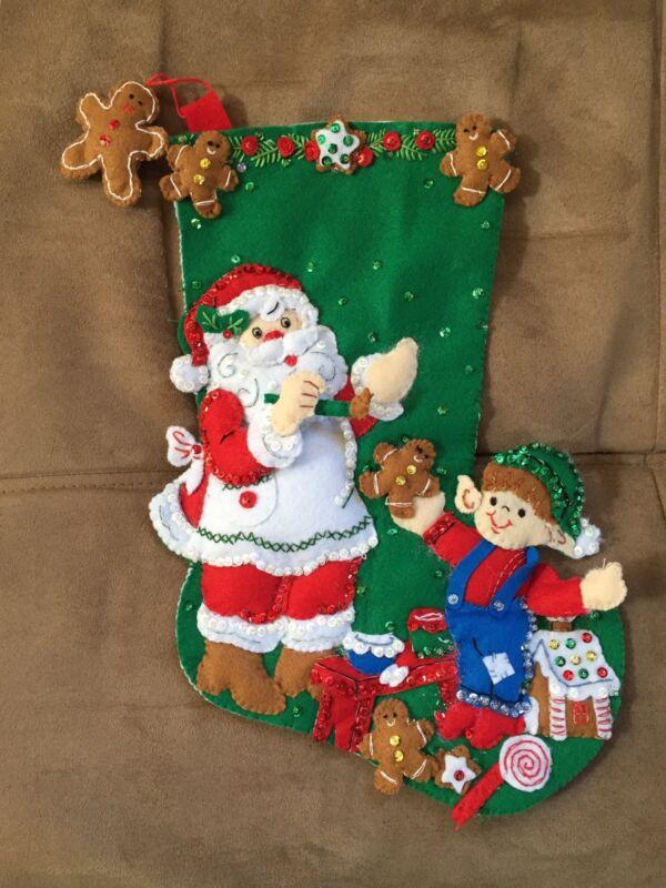 "Handmade 15"" Bucilla Stocking - Gingerbread Santa"