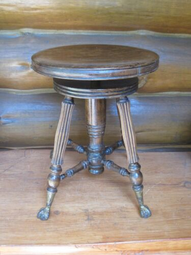 Victorian Era Vintage Wooden TONK Adjustable PIANO STOOL New York CLAW FEET