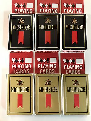 6 Decks of Beer Playing Cards  Michelob (3 gold) (3 Black)  - New Sealed
