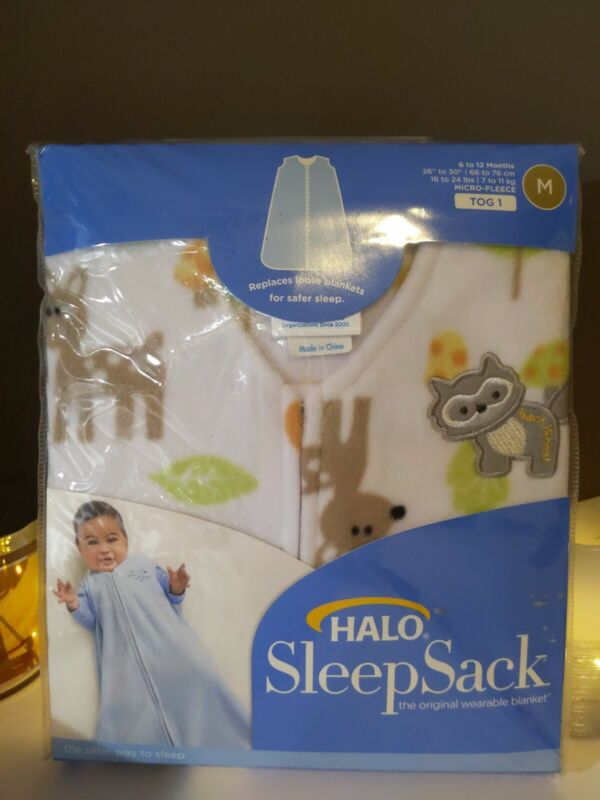 Halo SleepSack New Woodland Animal Print Fleece Medium 6-12 Months Safe Sleep