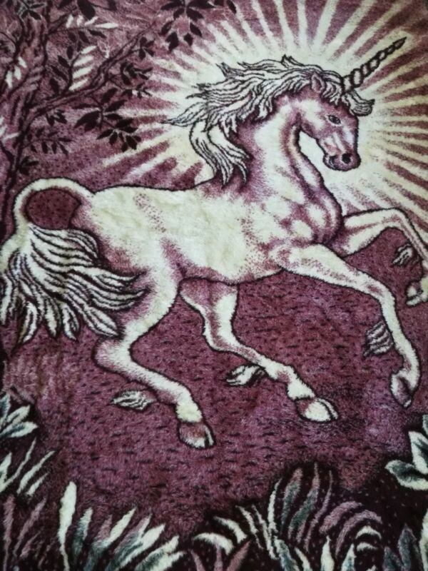 Unicorn Full Size Heavy Blanket 74x88 by Mink ~ Pink/Purple - Made in Mexico